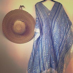 Lotta Stensson blue silky caftan beach coverup